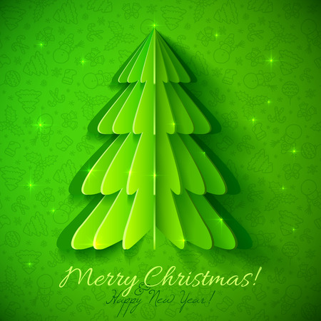 Green origami Christmas tree vector greeting card Vector
