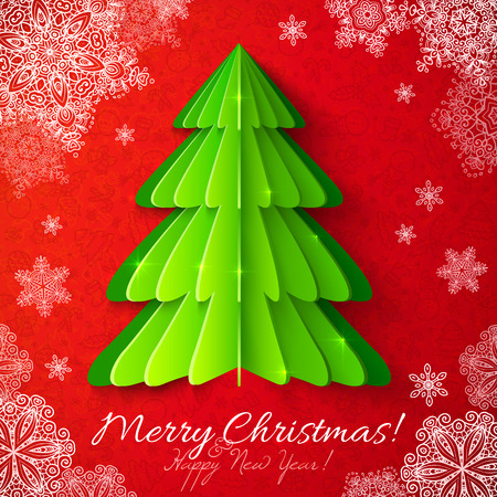 cristmas card: Green vector paper Christmas tree on red ornate background with snowflakes