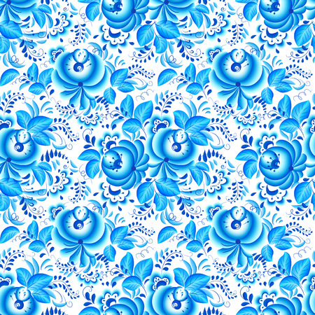 Ornate blue and white floral vector seamless pattern in Gzhel style