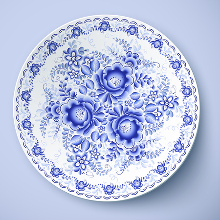 Blue vector plate with floral ornament in gzhel style Ilustração