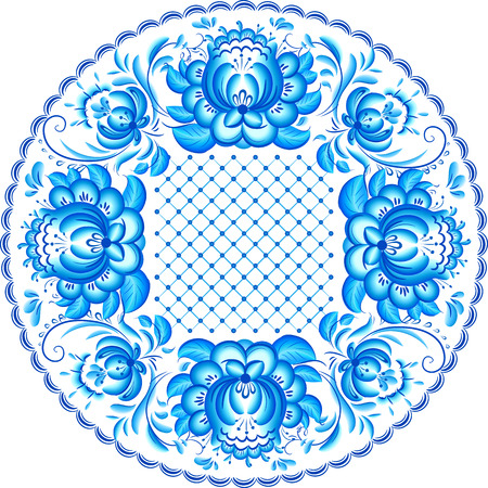 gzhel: Blue ornate vector plate pattern in floral Gzhel style