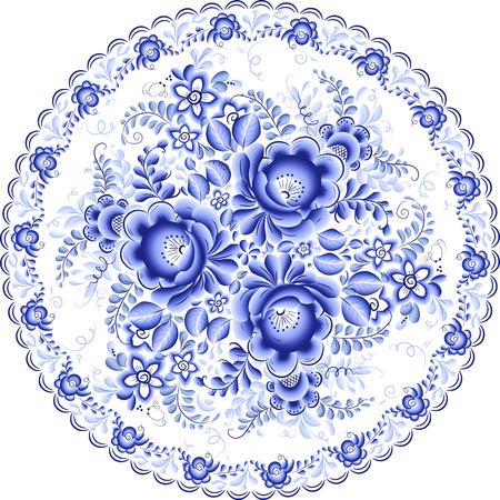 russian culture: Ornate blue plate in gzhel style (traditional style of Russian ceramics, painted with blue on white). Illustration