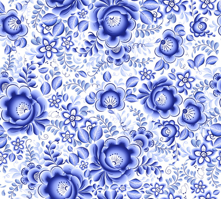 Blue floral textile vector seamless pattern in Russian gzhel style Vector