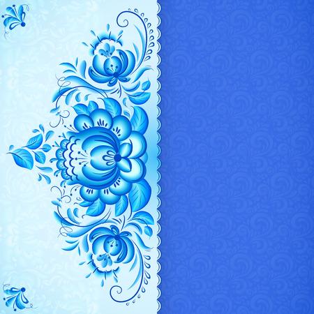 gzhel: Blue floral background