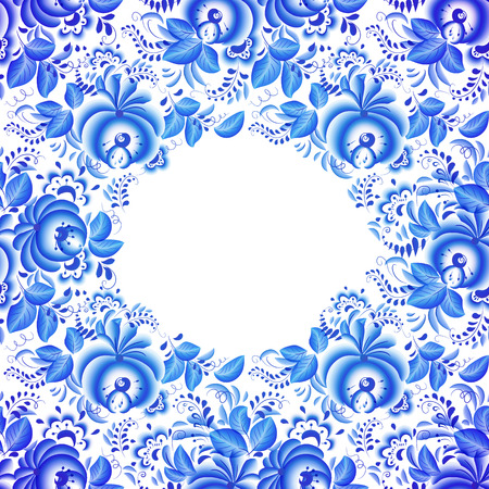 gzhel: Ornate vector floral frame in traditional Russian style Gzhel Illustration