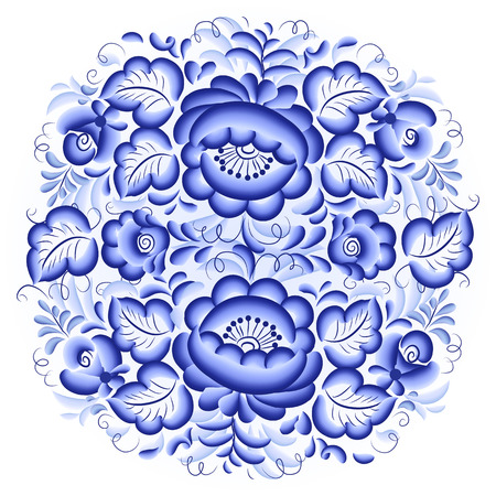 Ornate blue and white vector floral circle Vector