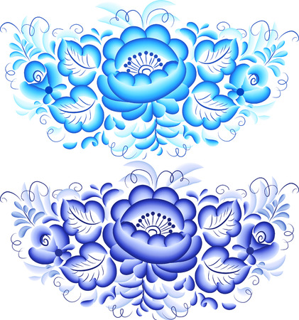 Floral vector blue elements in Gzhel style Vector