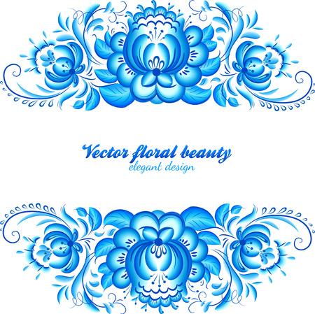 gzhel: Ornate elegant vector floral frame in Gzhel style Illustration