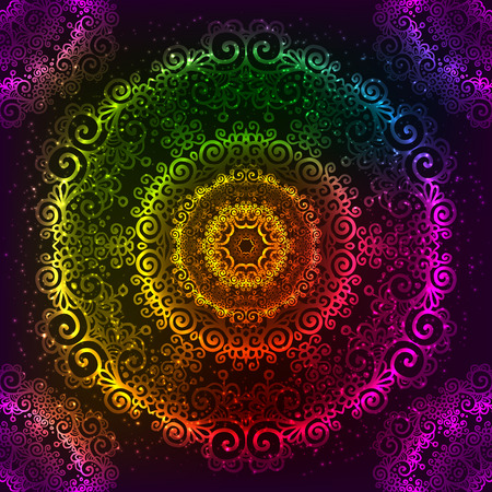 Ornate vector shining rainbow ornate neon mandala