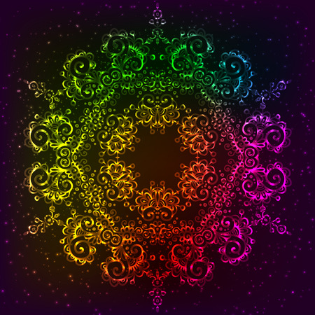 fractal pink: Ornate vector shining rainbow ornate neon mandala