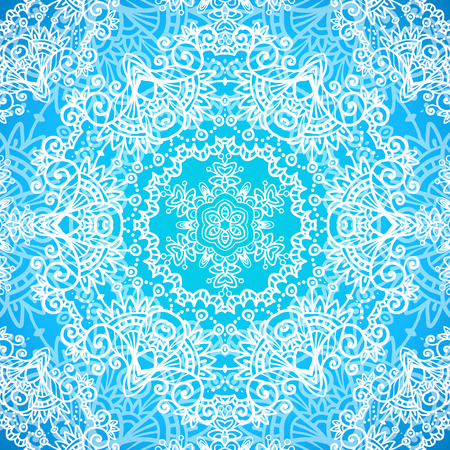 Ornate blue doodle ornament vector seamless pattern Vector