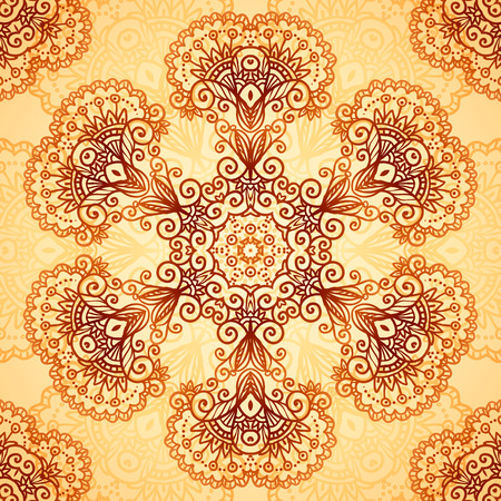 Ornate vintage circle vector seamless pattern in mehndi style Vector