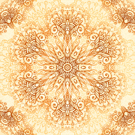 arabic motif: Ornate vintage circle vector seamless pattern in mehndi style