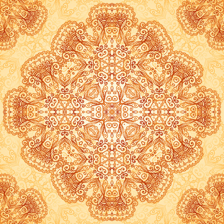 Ornate vintage circle vector seamless pattern in mehndi style