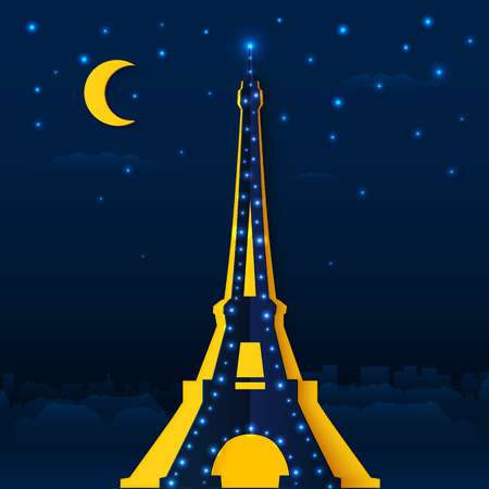 Cutout paper night Eiffel tower, vector illustration Vector