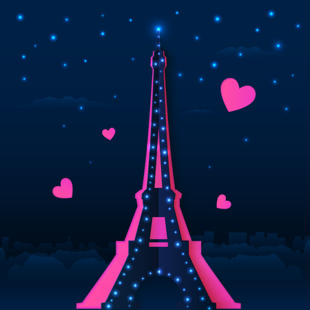 night spot: Cutout paper night vector Eiffel tower with pink hearts