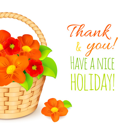 Basket with red flowers and Have a nice holiday! sign. Vector greeting card template. Vector