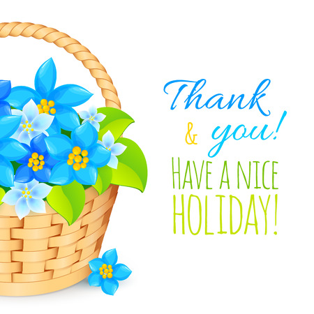 Basket with blue flowers. Vector greeting card template. Vector