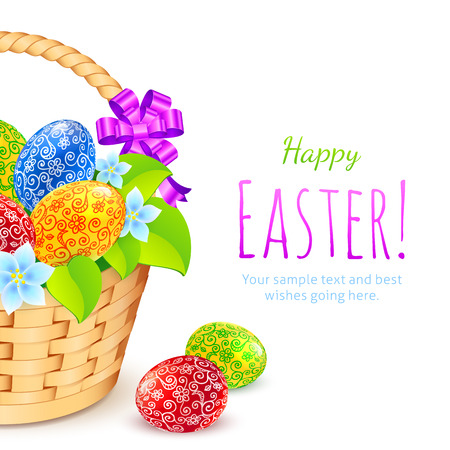 Easter eggs with flowers in bucket, vector greeting card template Vector