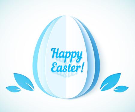 Blue Happy Easter sign on paper egg, vector illustration Vector