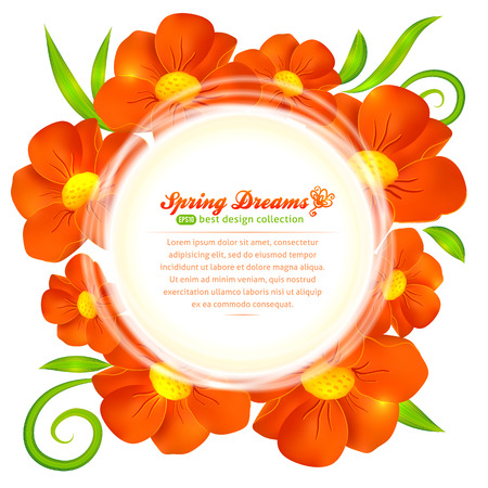 Orange beautiful poppy flowers circle vector frame Vector