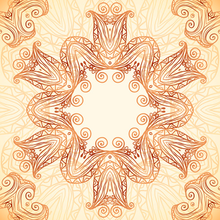 Ornate vintage card template in Indian mehndi style Vector