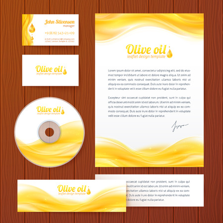 Realistic yellow oil vector business style template