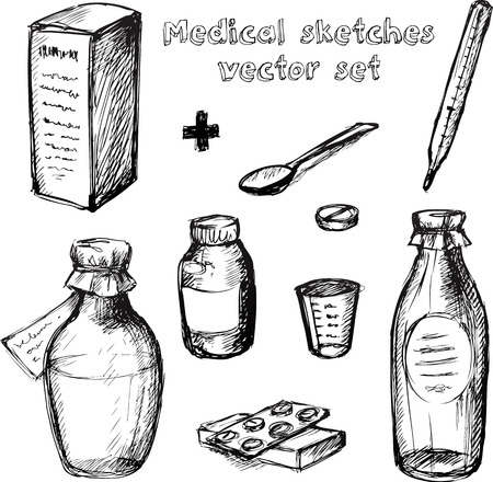 blister: Medical hand drawn black and white sketches vector set