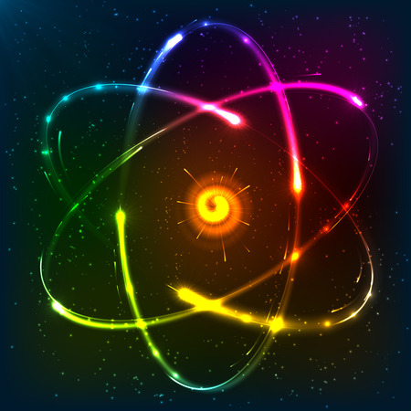 PROTON: Shining neon rainbow colors atom model, vector illustration