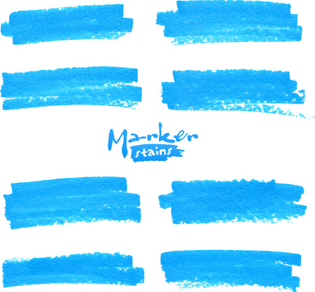 Blue vector felt tip pen stains set Vector