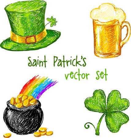 leprechaun background: Colorful sketch Saint Patrick day set, vector illustration Illustration