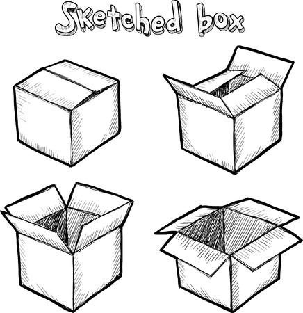 cardboard: Dessin�s � la main bo�te ouverte de vecteur, ensemble de l'animation