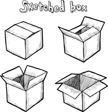 pencil box: Hand-drawn vector open box, set for animation