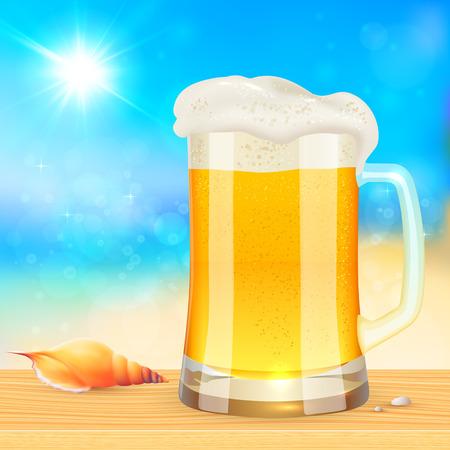 glass beer bottle: Summer mug of fresh beer on blurred seascape background, vector illustration Illustration