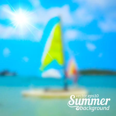 windsurf: Bright blurred summer sea and boats vector background Illustration
