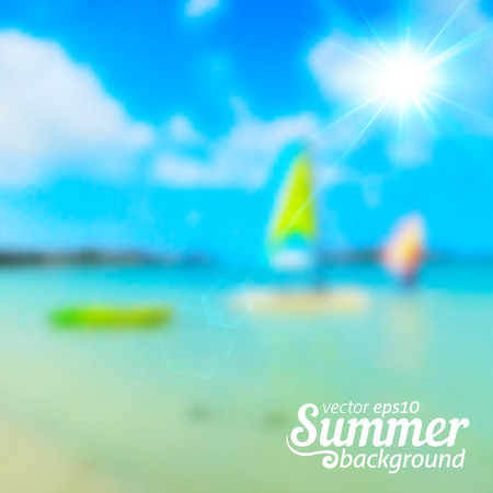 Bright blurred summer sea and boats vector background Vector