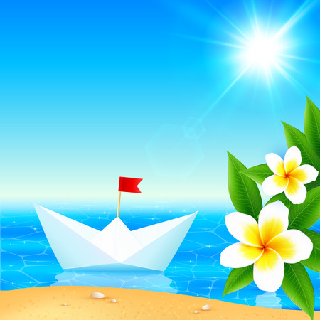 ocean view: White paper boat near blooming tropical island, vector illustration Illustration
