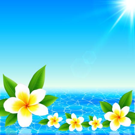 Fleurs blanches tropicales sur fond brillant océan, illustration vectorielle Vecteurs