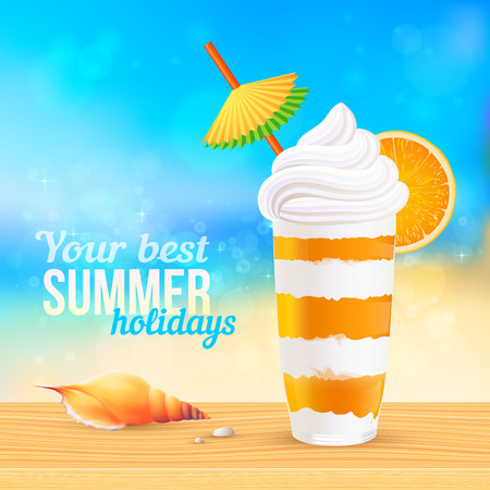 Summer creamy cocktail with orange slice and paper umbrella on sunny beach, vector illustration Vector