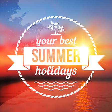 Summer holidays vector background with text design Vector