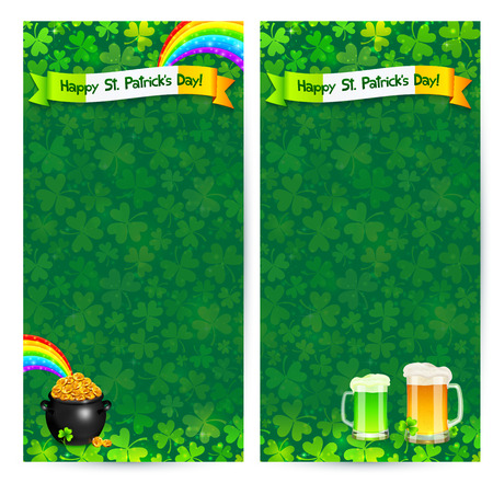 Green Patricks day two flyers vector templates Vector