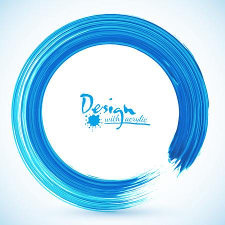 Blue paintbrush textured acrylic circle vector frame