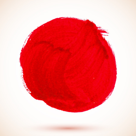 Red vector isolated acrylic texture paint circle Vector