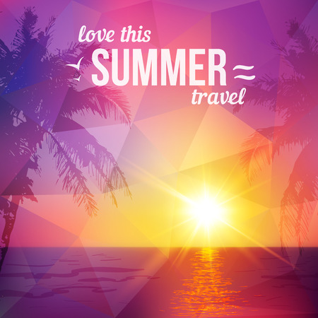 Purple triangles tropical sunset with palms silhouettes, vector illustration