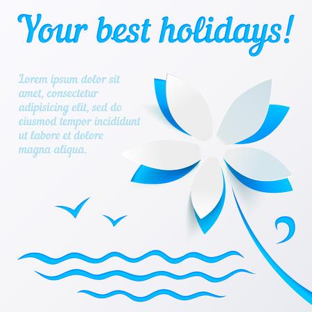 Recorte de la flor de papel de vectores de fondo azul de verano