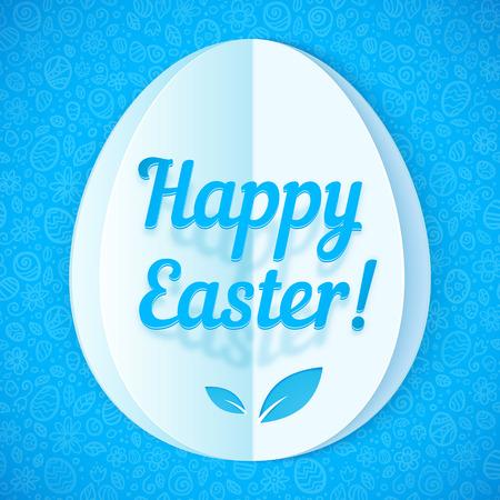 Blue cut-out paper Easter egg, vector illustration Vector