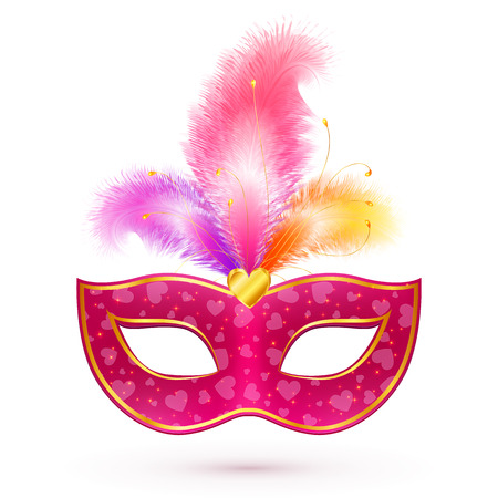 Pink vector carnival mask with realistic feathers