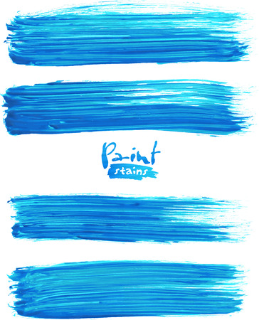 Bright blue acrylic brush strokes, vector elements for your design