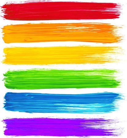 Colores del arco iris del vector acuarela trazos de pincel con textura
