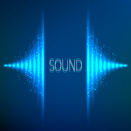 electronic music: Blue neon stereo bright vector abstract equalizer
